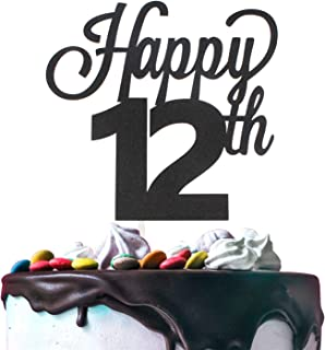 Happy 12th Birthday Black Glitter Cardstock Paper Cake Topper Cheers to 12 Years Old Twelve Bday Party Gift Photo Booth Sign Decoration - Premium Double Sided