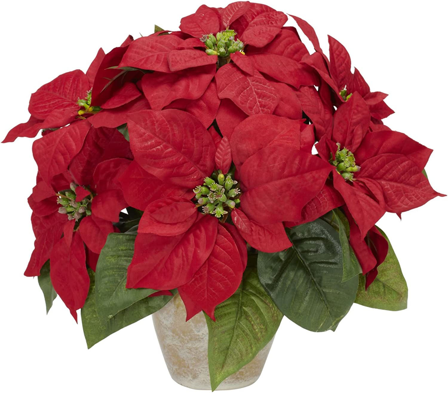 Nearly Natural 1268 Poinsettia with Ceramic Vase Silk Flower Arrangement, Red