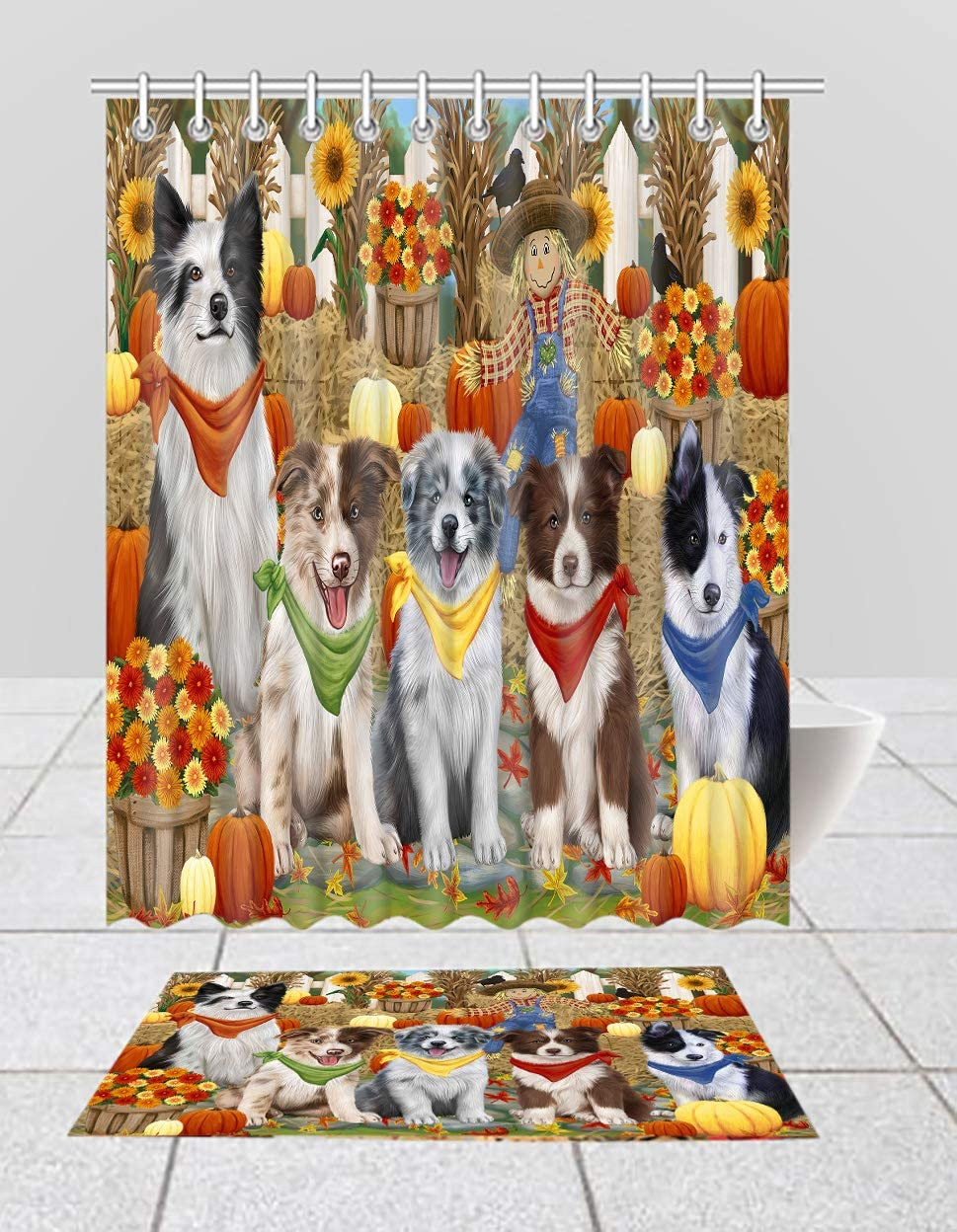 Fall Max Max 67% OFF 48% OFF Festive Harvest Time Gathering Border Cu Shower Dogs Collie