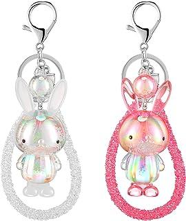 2 Pieces Bunny Keychain Easter Dazzle Colour Bunny Keychain Acrylic Cute Rabbit Keychain Women Multicolor Acrylic Cute Ani...