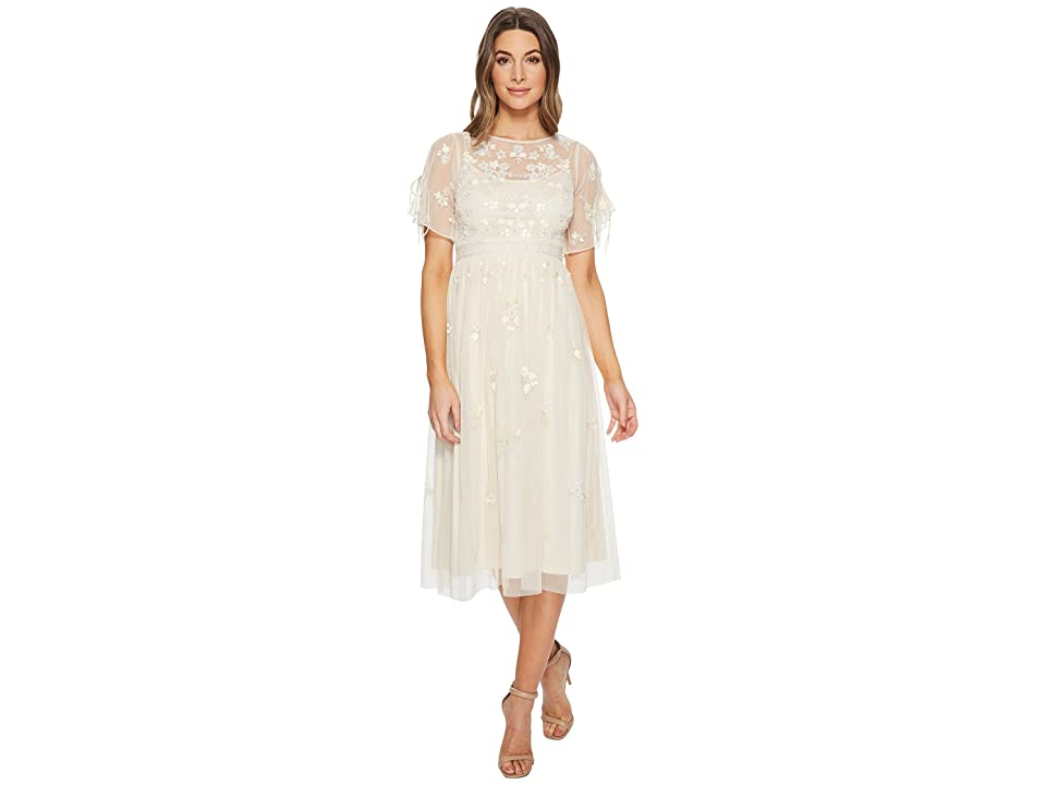 Adrianna Papell Tie Shoulder 3D Beaded BoHo Cocktail Dress (Pearl) Women