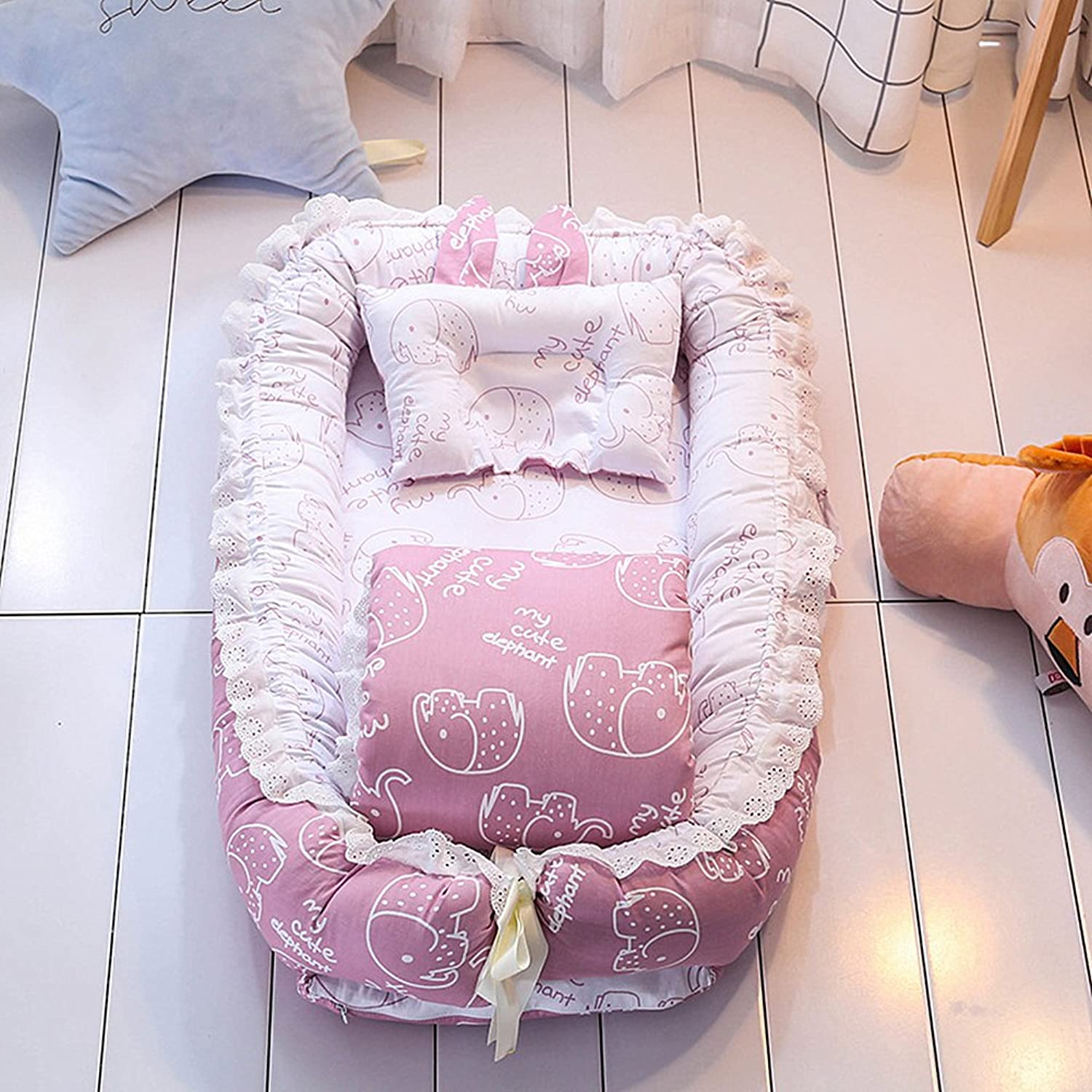 Ukeler Reversible Baby Nest Bassinet Lounger for Bed- 100% Cotton Portable Crib for Bedroom Travel - Breathable & Hypoallergenic Co-Sleeping Baby Bed, Suitable for 0-24 Month
