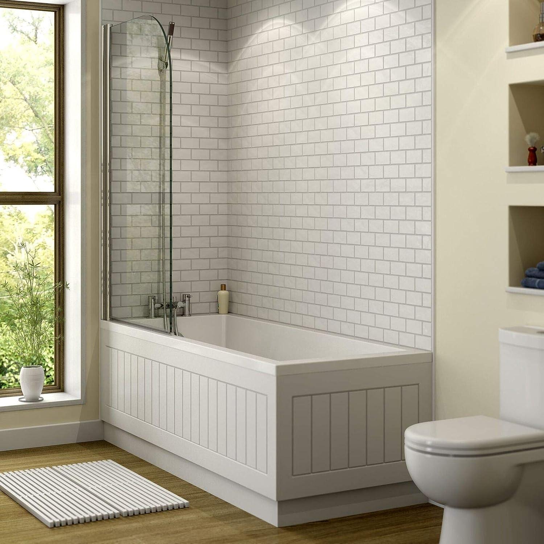 Modern Bathroom Single Ended Straight Bath 1800 x 800mm Square Bath Tub White Acrylic
