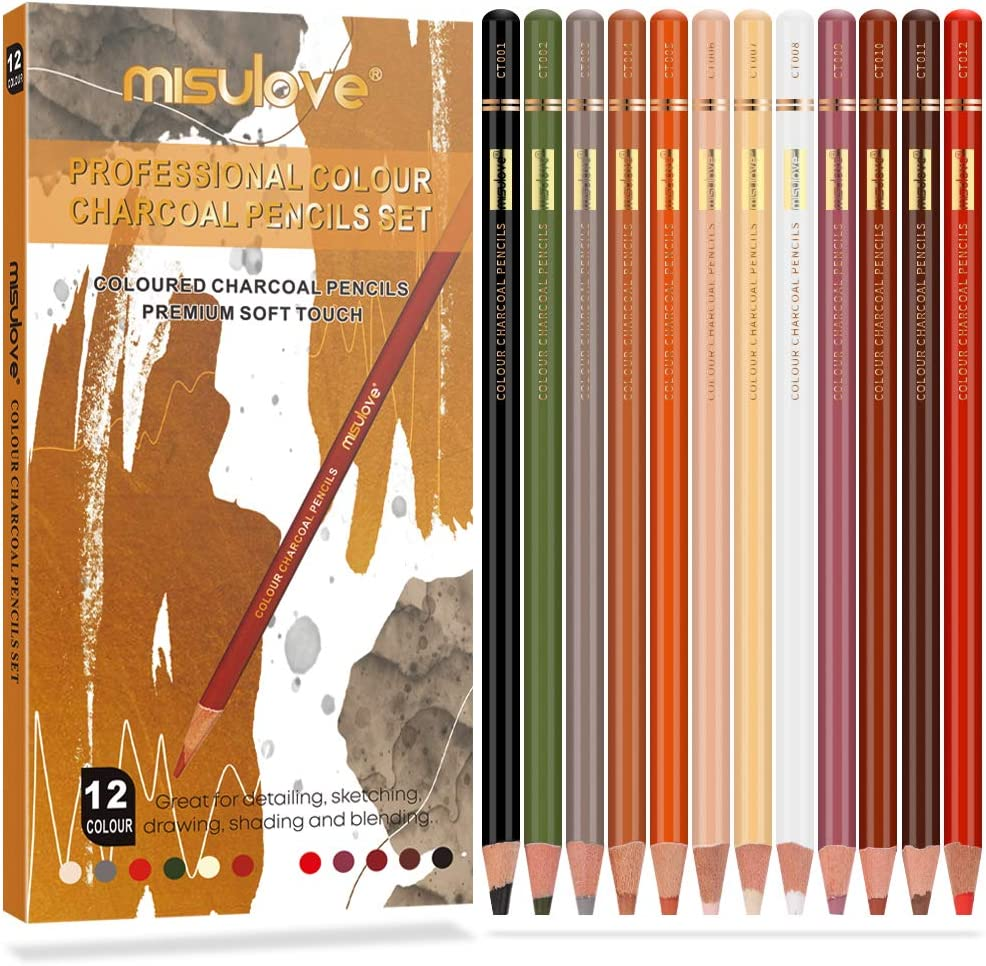 MISULOVE Charcoal Pencils Drawing Set Professional Colors Max 75% OFF New product!! 12 So