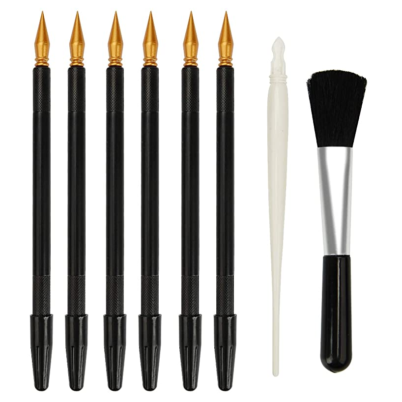 Scratch Color Pen, MOSSLIAN Scratch Art Design Tools, Dual Tip Stylus Scratch Paper Pens,Painting Drawing Arts Tools Set for Art Painting Papers Sheets Boards(6 Pcs Black+1 White+1 Brush)