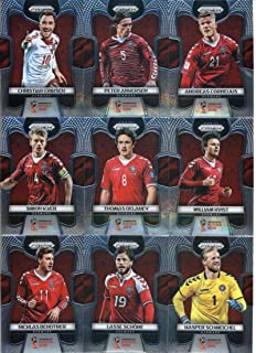 2018 Panini Prizm World Cup Soccer Denmark Team Set of 9 Cards: Kasper Schmeichel(#258), Lasse Schone(#259), Nicklas Bendtner(#260), Simon Kjaer(#261), Thomas Delaney(#262), William Kvist(#263), Andreas Cornelius(#264), Peter Ankersen(#265), Christian Eriksen(#266)