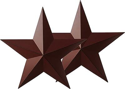 "BURGUNDY BLACK BARN STARS 5.5/"" PRIMITIVE COUNTRY DECOR ANTIQUE Set of 6"