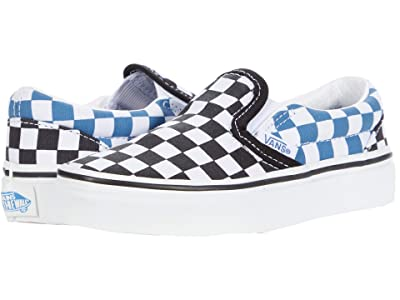 Vans Kids Classic Slip-On (Little Kid) ((Checkerboard) Black/Navy) Boys Shoes