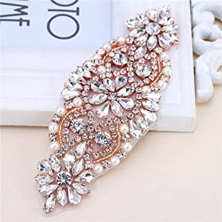 XINFANGXIU Rose Gold Small Rhinestone Garter Applique Sew Iron on Crystal Beaded Patch for Bridal Wedding Dress Sash Belt Clothes Embellishments