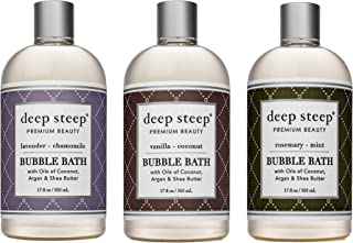 Deep Steep Bubble Bath Bundle Pack: 1 each: Lavender Chamomile, Vanilla Coconut, Rosemary Mint, 17 Ounce