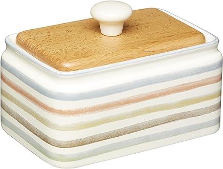 Preisvergleich für Kitchen Craft Butterschale mit Deckel aus Keramik/Buchenholz, cremefarben 15 x 11 x 9.5 cm