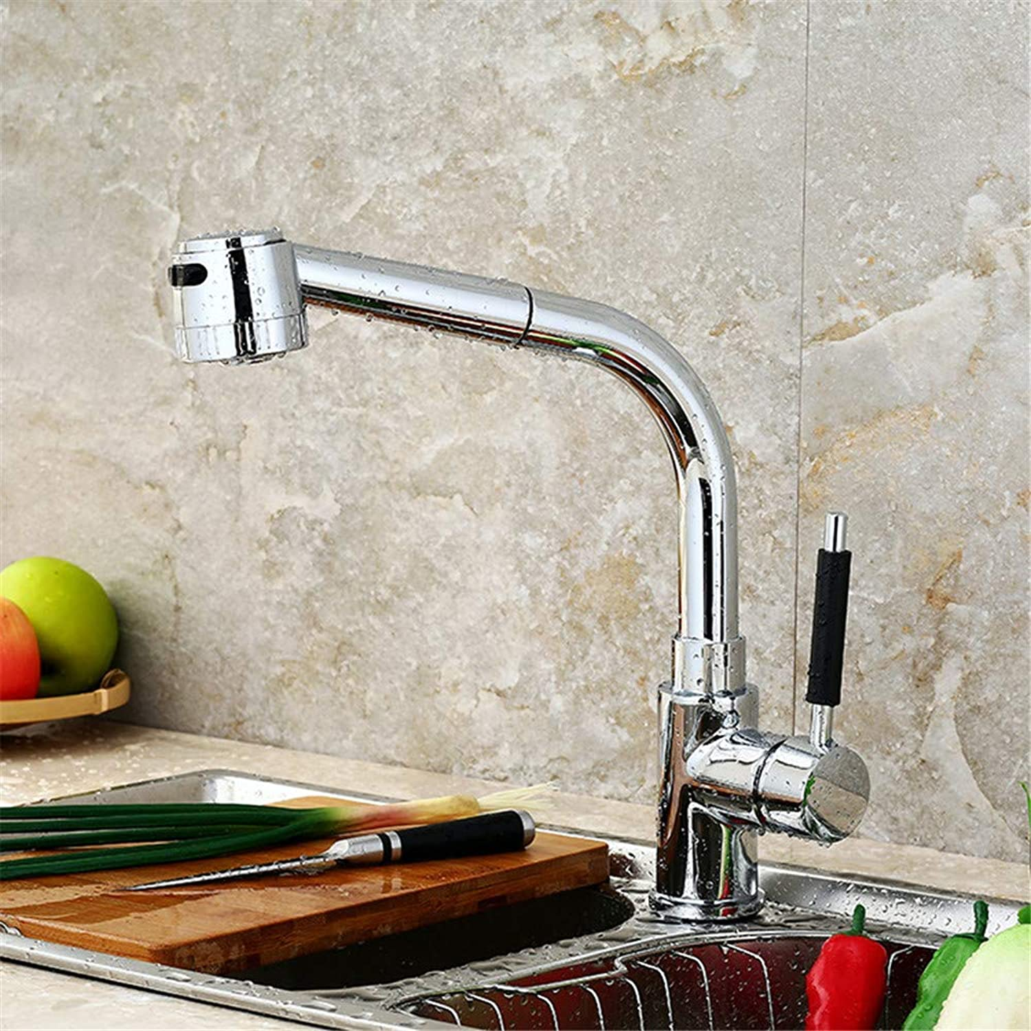 Kitchen Faucet Hot and Cold Water Mixer Kitchen Sink Faucet Full Copper Body Rotatable Single Handle Chrome-Plated Polished Lead-Free