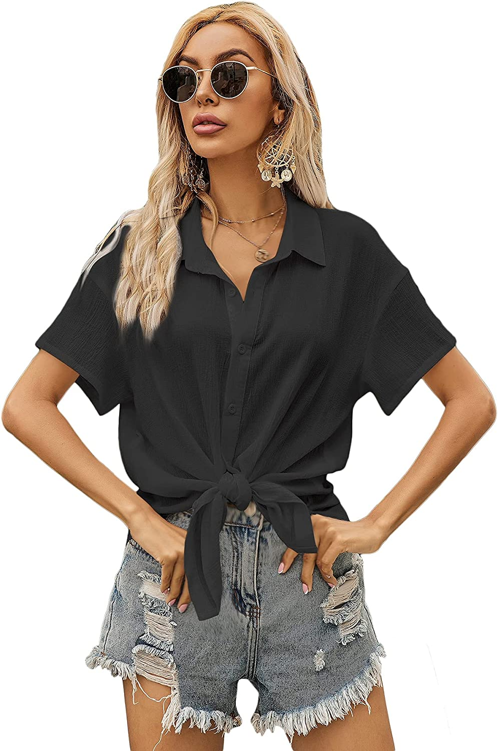 Milumia Women's Blouse Short Sleeve V Neck Button Down T Shirts Front Knot Casual Tops