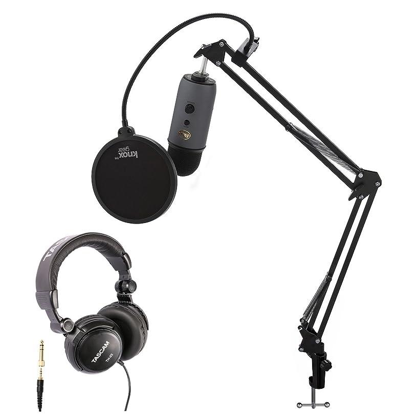 Blue Microphones Yeti Slate USB Microphone with Knox Studio Stand, Studio Headphones and Pop Filter