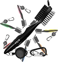 FBJW Golf Club Brush, 2 Sided Bristle Club Groove Cleaner with 2 Ft Retractable Zip-line Aluminum Carabiner, Ergonomic Designed and Lightweight, Easily Attaches to Golf Bag