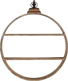 Rivet Rustic Round Wood 2-Tier Shelf Floating Hanging Wall Unit- 30 Inch, Whitewashed Fir Veneer