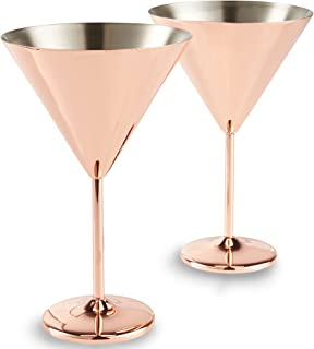 VonShef Copper Martini Cocktail Glasses, Stainless Steel, Set of 2 16oz Glasses with Gift Box