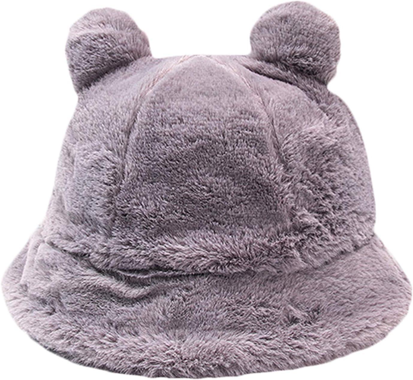 ZSGG Chapeau de p/êcheur en peluche pour femme Couleur unie