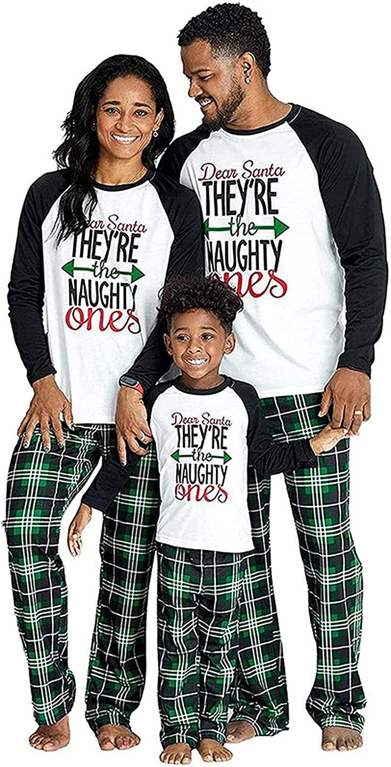 LemonLip Matching Christmas Pajamas for Family Women Men Green Funny Letters Cotton Holiday Sleepwear Mum and Dad Pjs Set (6-7Y,01,Large)