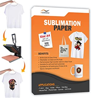 $24 » Sublimation Paper Inkjet Transfer Heat Paper for Cotton Polyester Fabric, Mugs, canvas, T-shirt, Wood , Metal Compatible w...