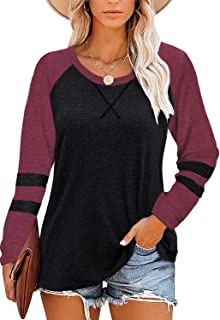 Womens Color Block Round Neck Tunic Tops Long Sleeve...