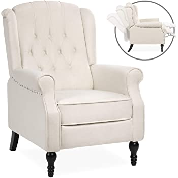 Best Choice Products Tufted Upholstered Wingback Push Back Recliner Armchair for Living Room, Bedroom, Home Theater Seating w/Padded Seat and Backrest, Nailhead Trim, Wooden Legs, Beige