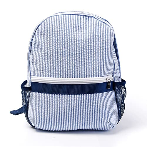 ad7b739486 Mright 2-5 Years Personalize Seersucker Backpack Toddler Backpack Preppy  Kids School Bookbag (Navy