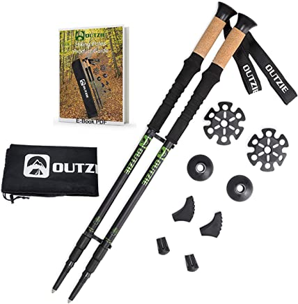 OUTZIE Trekking Poles 2pc Pack Adjustable Hiking or Walking Sticks - Compact Durable Lightweight Aircraft Aluminum - Cork Grips Padded Strap Shock-Absorbing Quick Adjust Twist Lock E-Book Carry Bag