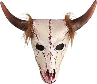 molezu Goat Head Skull Mask with Horns, Cave Demon Skeleton Blood Goat Sucker Cannibal Mask Latex Adult Halloween Costume