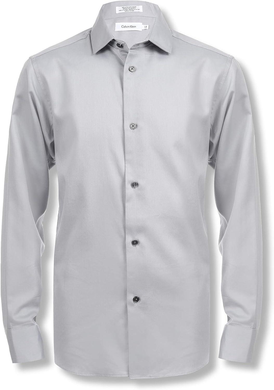 Calvin Klein Boys' Long Shirt 100% Ranking TOP14 quality warranty Sleeve Dress Sateen