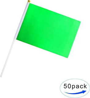 Green Colour Flag, 50 Pack Pure Solid Green Small Flags On Stick, Color Decoration, School,Office, Home Decoration,DIY Decoration.