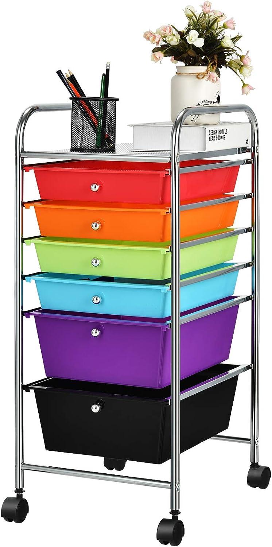 スーパーセール期間限定 Giantex メーカー直売 6 Storage Drawer Cart Rolling for Tools Organizer S