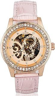 Fanmis Women Metal Skeleton Butterfly Crystal Hand Wind Mechanical Pink Leather Watch