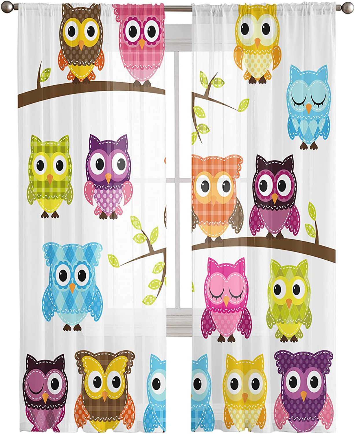 Year-end annual account Weekly update Rod Pocket Semi Sheer Curtains Branches Owls Wildlife on Patchwo