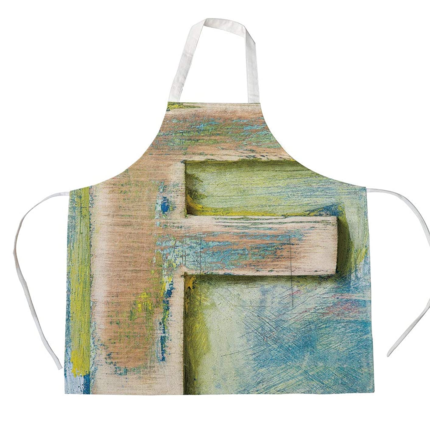 Cotton Linen Apron,Two Side Pocket,Letter F,Damaged Worn Uppercase F Printing Symbol Antique Letterpress Block Typeface Decorative,Green Blue Tan,for Cooking Baking Gardening