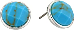 Turquoise Stone Button Earrings