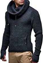 Leif Nelson Men's Knitted Pullover   Long-sleeved slim fit shirt   Basic longsleeve sweatshirt with shawl collar for Men
