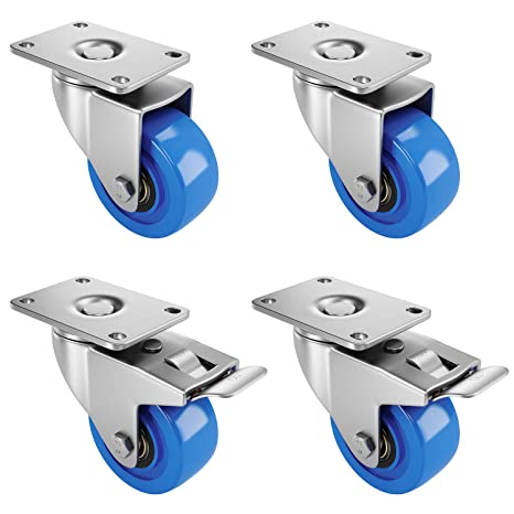 Casters 2 Inch Heavy Duty Furniture with Brake Universal Swivel Stainless Steel Bracket Industrial Trolley Replacement Transport for Garden Flower Stand Shelf 4PCS 200KG