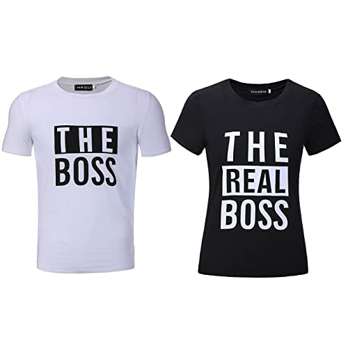 3413fcdd19 Yeleo Trosetry The Boss and The Real Boss Couples T-Shirts Best Couple  Anniversary Newlywed