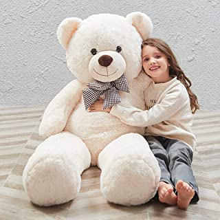 MaoGoLan MorisMos 47 inch Big Cute Plush Teddy Bear Huge Plush Animals Teddy Bear for Girl Children Girlfriend Valentine's Day White 1.2M