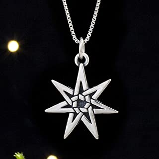 Sterling Silver Fairy Star, Seven Pointed Heptagram - (Pendant Only or Necklace)