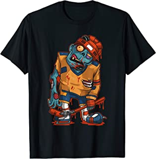 Zombie Ice Hockey Player Halloween Trick or Treating Gift T-Shirt