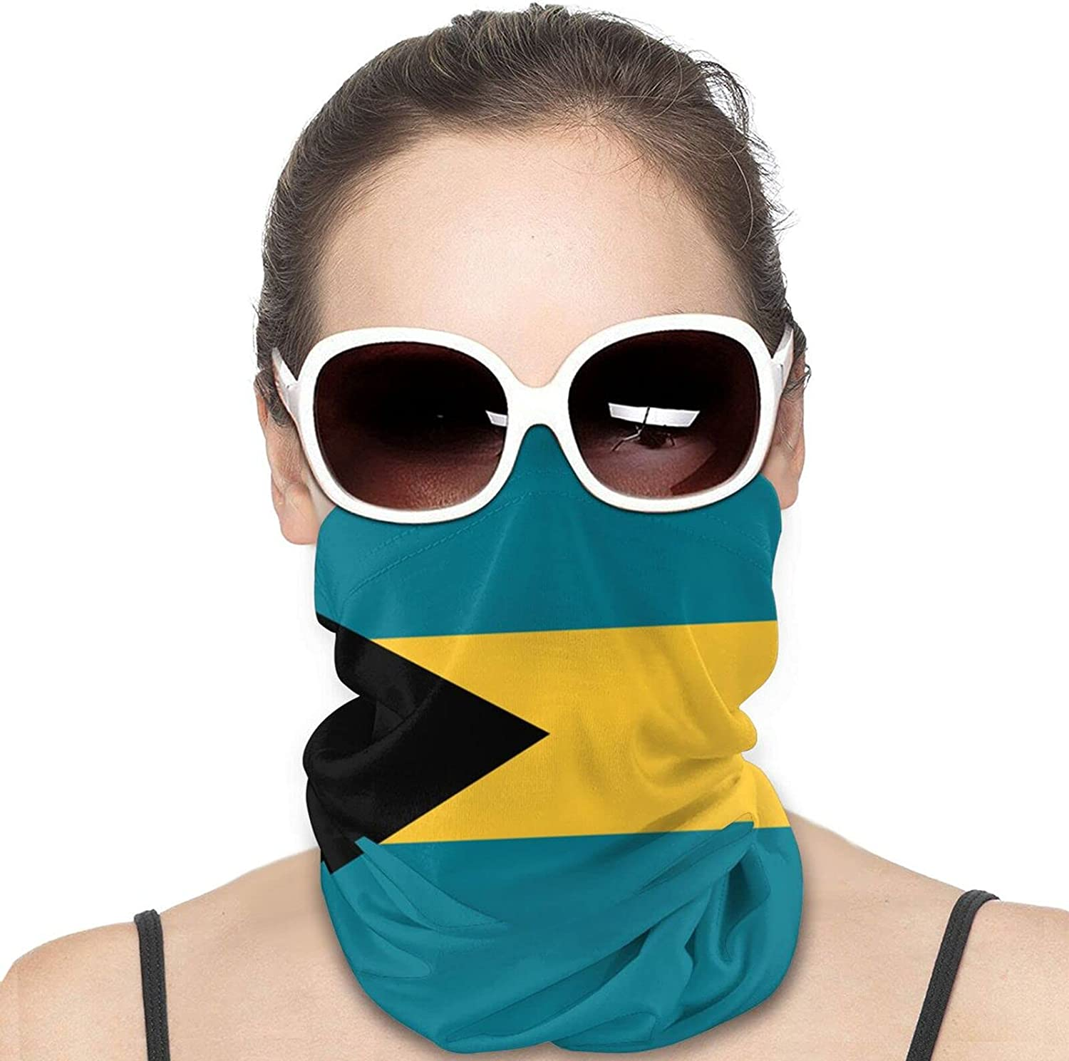 Flag of the Bahamas Round Neck Gaiter Bandnas Face Cover Uv Protection Prevent bask in Ice Scarf Headbands Perfect for Motorcycle Cycling Running Festival Raves Outdoors