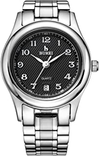 BUREI Women's Quartz Watch with Simple Arabic Numerals and Stainless Steel Strap