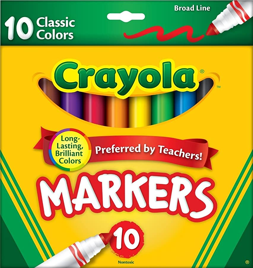 Crayola 758114552570 Broad Line Markers, Classic Colors 10 Each (Pack of 24), Case of 24, no, Count