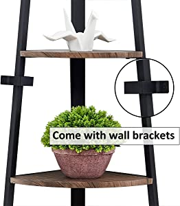 O&K FURNITURE 5-Shelf Corner Etagere Bookcase for Small Space, Industrial Tall Corner Bookshelf, Gray-Brown Finish