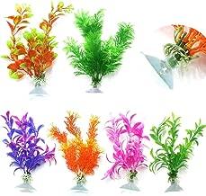 CNZ Assorted Color Aquarium Plastic Plant Decoration w Ceramic Base