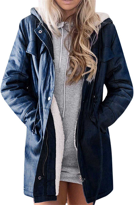 Womens Hooded Warm Winter Casual Long Sleeve Denim Jacket Fleece Lined Parkas Long Coats
