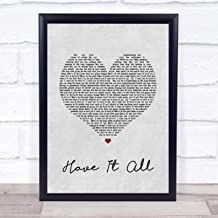 123 BiiUYOO Jason Mraz Have It All Grey Heart Song Lyric Print with Frame 14