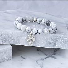 Alfonso Sánchez Jewelry - Pulsera Piedra Howlita Mano de Fatima Plata Ley